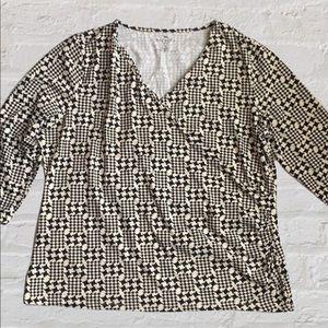 Women's Talbots 1X XXL Faux Wrap Blouse Shirt
